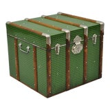 Image of Vintage Mid Century Green Faux Cane Rattan Wicker Trunk For Sale
