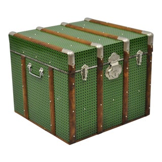 Vintage Mid Century Green Faux Cane Rattan Wicker Trunk For Sale