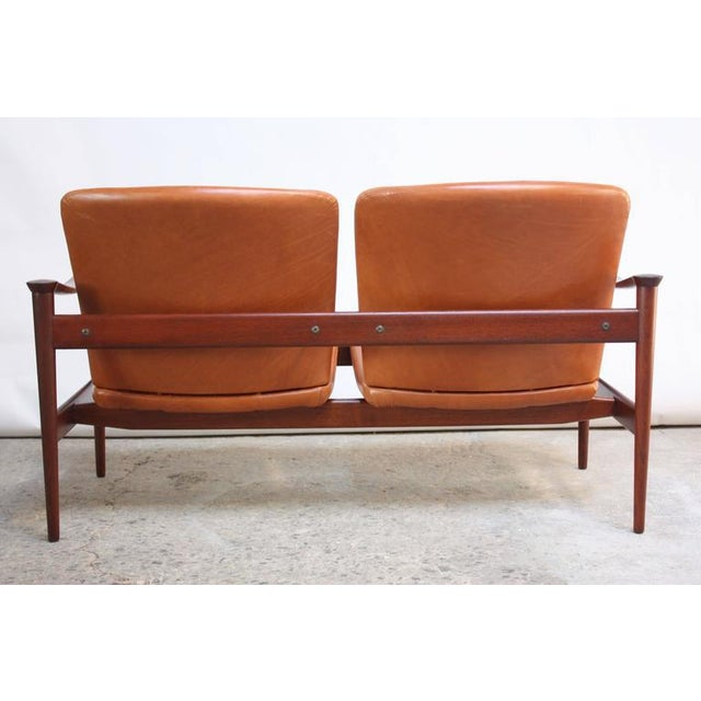 Fredrik Kayser Loveseat in Leather and Teak - Image 11 of 11