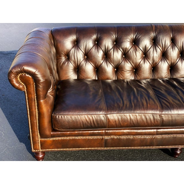 Tommy Bahama Manchester Leather Sofa For Sale - Image 4 of 13
