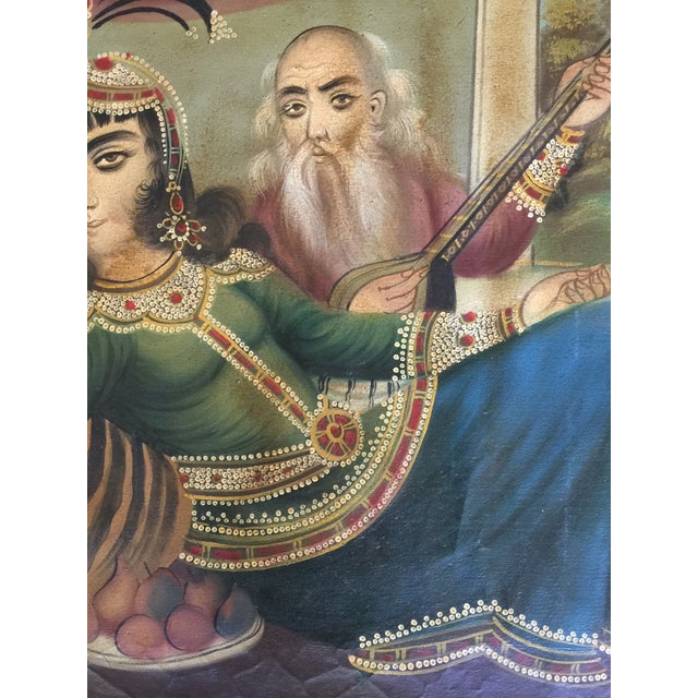 Blue Antique 19th Century Qajar Tea House Signed Oil Painting on Canvas For Sale - Image 8 of 13
