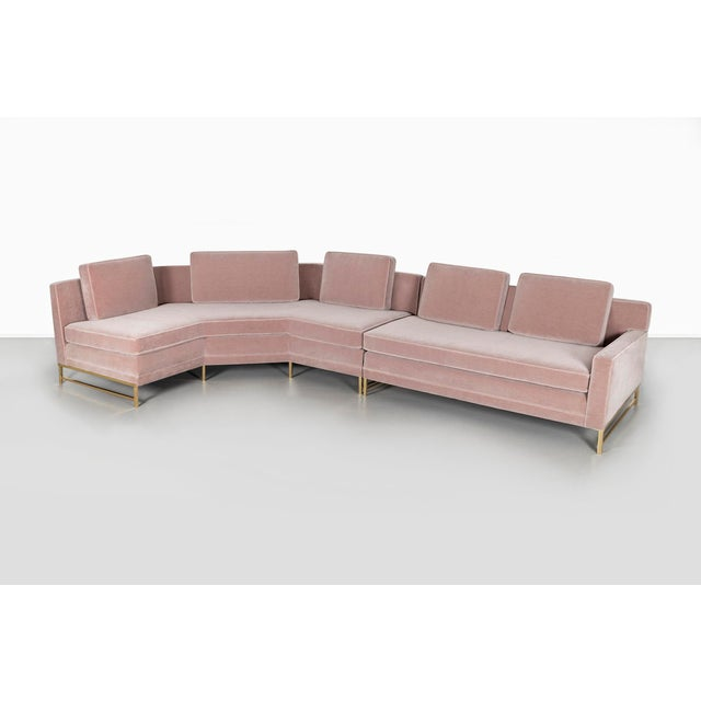 "sectional sofa designed by Paul McCobb for Directional USA, c 1950s mohair + brass 33"" h x 166"" w x 49"" d x seat 33"" d..."