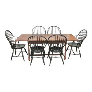 Bench Made Farm Table & Bow Back Windsor Chairs Dining Set For Sale
