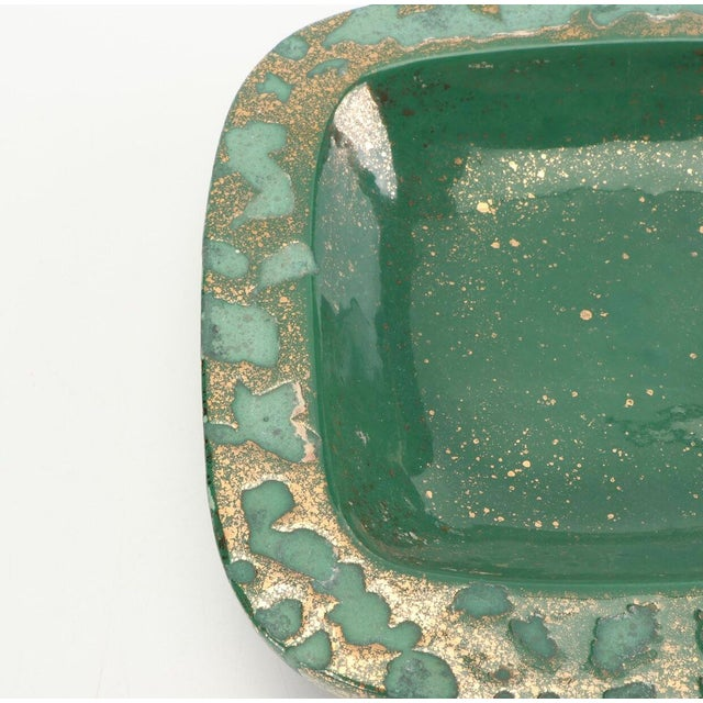 Art Deco Green Vintage Westwood Ware Dish or Ashtray With 24 Kt Metallic Gold For Sale - Image 3 of 7