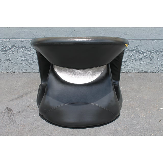 Vintage Mid Century Modern Futuristic Black Leather Club Chair For Sale In Miami - Image 6 of 11