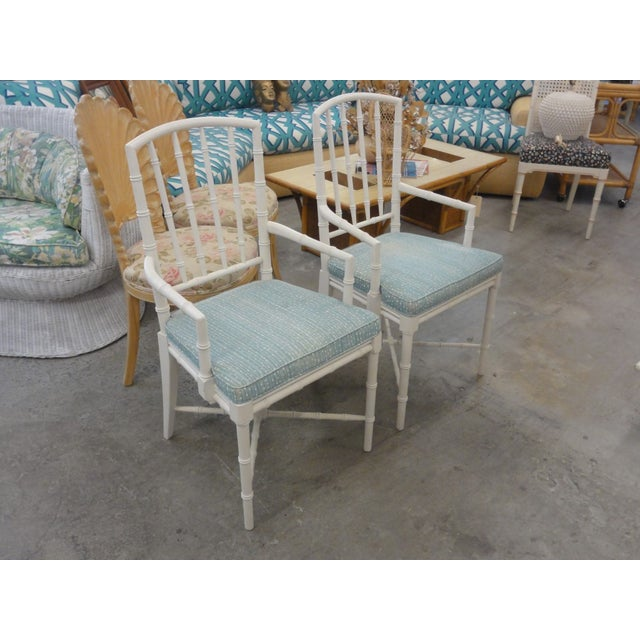 White Palm Beach Faux Bamboo Arm Chairs - a Pair For Sale - Image 8 of 10