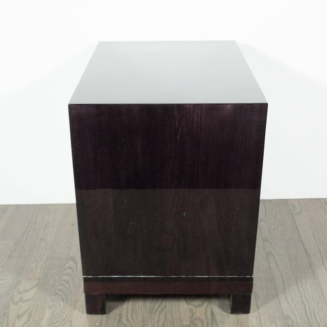 Contemporary Pair of Mid-Century Greek-Key Nightstands or End Tables with Greek Key Pulls For Sale - Image 3 of 9
