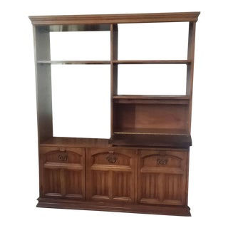 1960s Mid-Century Modern Brass Detailed Wooden Wall Unit Bookcase