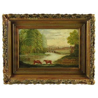 19th-C. American Pastoral Oil Painting