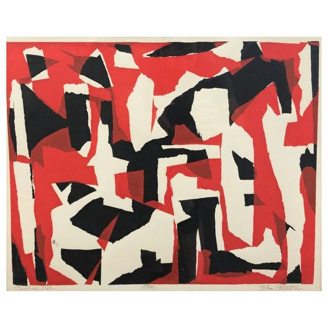 """John Otterson """"Broken Red"""" Abstract Serigraph, Signed & Numbered, Early 1950s For Sale - Image 9 of 9"""