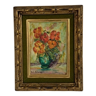 1970s Vintage Floral Still Life Velvet Matte Oil on Board Framed Painting For Sale