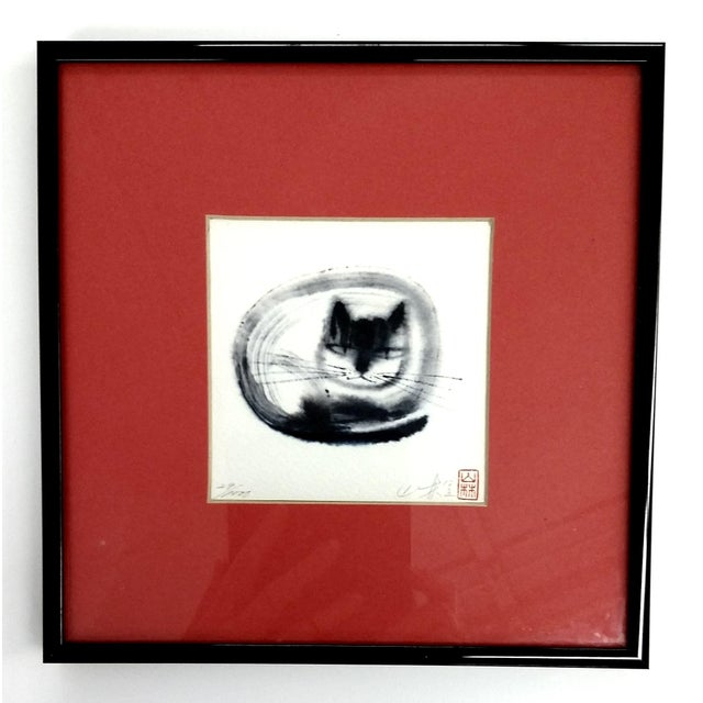 Japanese Collectible Watercolor Cats - A Pair - Image 2 of 10