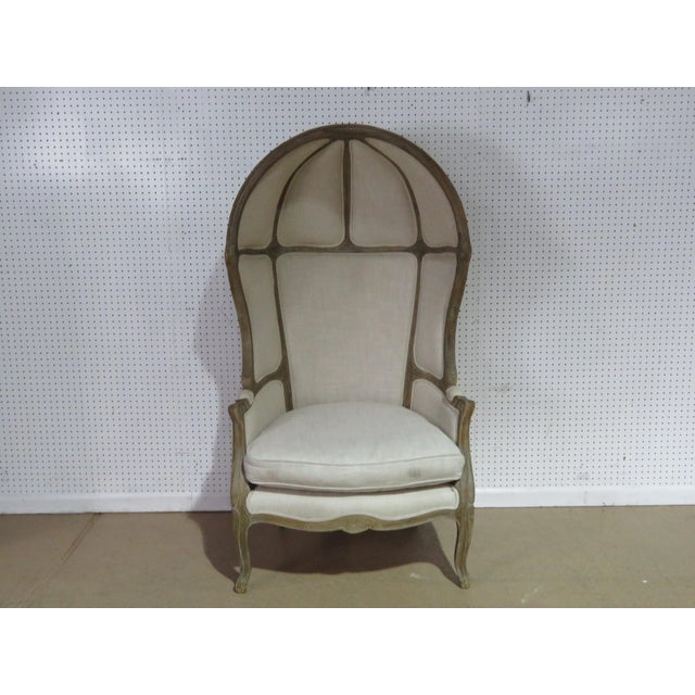 French Provincial style distressed porters chair.