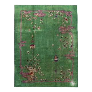 Contemporary Hand Woven Green & Pink Wool Rug - 9'0 X 12'0 For Sale