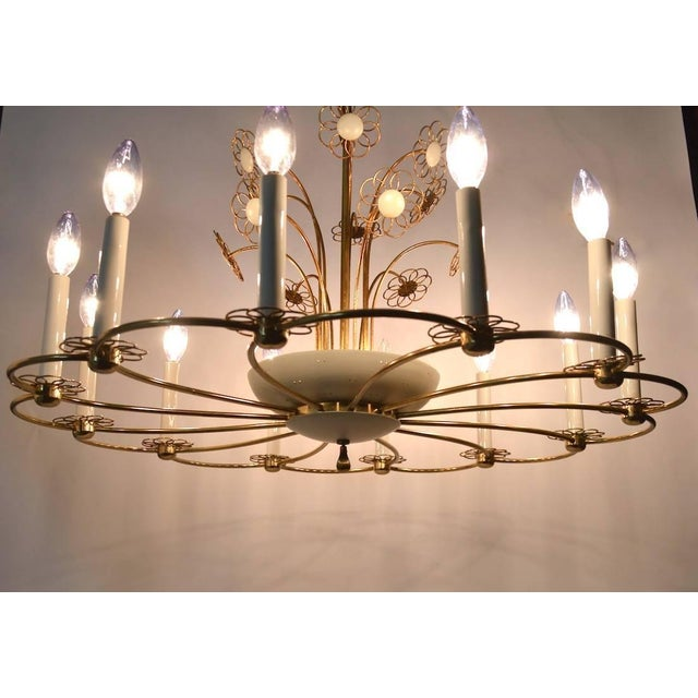 White Floral Chandelier by Lightolier After Tynell For Sale - Image 8 of 11