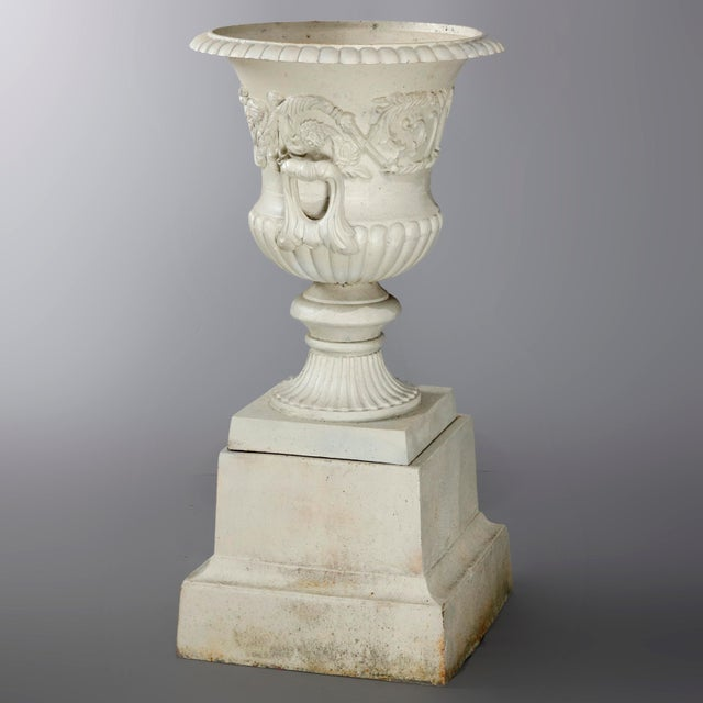 Antique French Neoclassical 2-Piece Cast Iron Garden Urn, 20th Century For Sale - Image 9 of 10