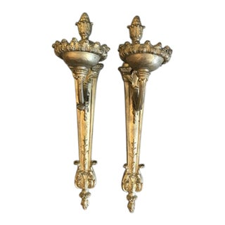 19th Century Neoclassical Style Gilt Bronze Sconces - a Pair