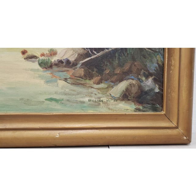 "Vintage American West Oil Painting ""Lunch Time"" by William Metter C.1940s For Sale - Image 4 of 11"