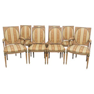 Directoire Style Carved Dining Chairs - Set of 8 For Sale