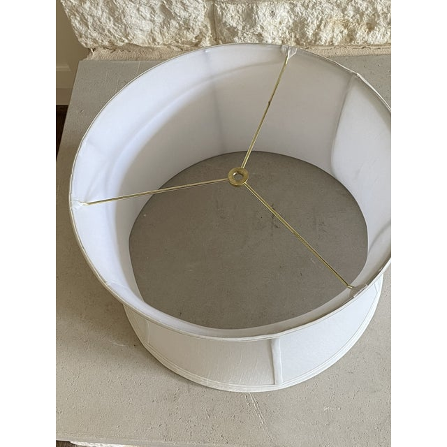 Traditional Silk Shantung Off White Curved Drum Shade With Brass Spider Fitter For Sale - Image 3 of 5