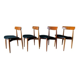 1960s Vintage H.W. Klein for Bramin Sculpted Teak Dining Chairs- 4 Pieces For Sale
