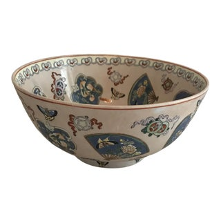 Vintage Japanese Porcelain Imari Painted Punch Bowl For Sale
