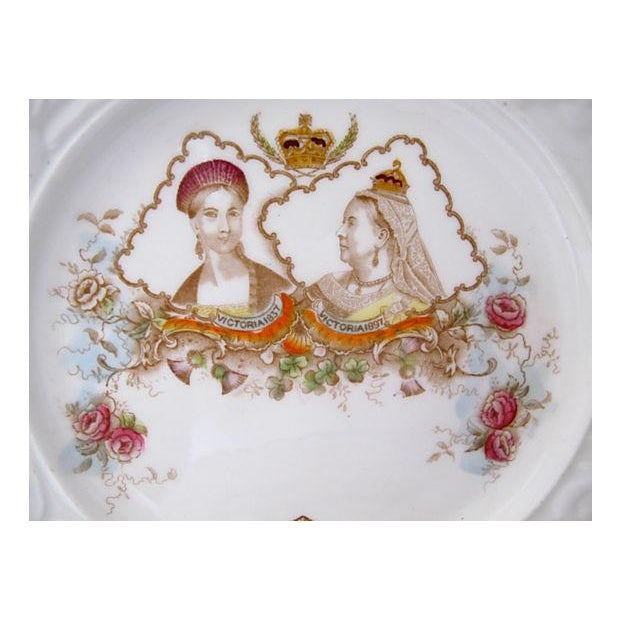 English Traditional 1897 Hand-Painted Queen Victoria Jubilee Plate For Sale - Image 3 of 3
