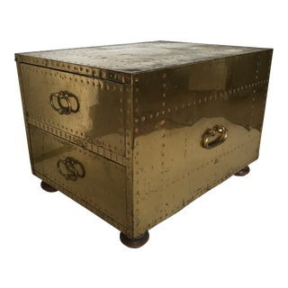 Sarreid Brass Two Drawer Chest For Sale