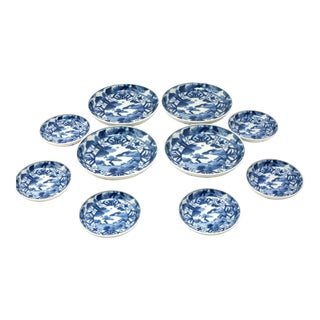 Vintage Japanese Blue and White Plates - Set of 10