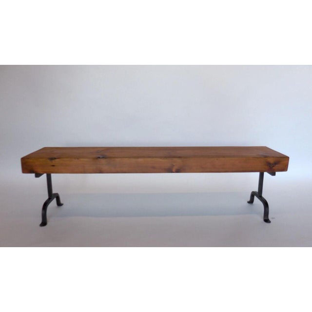 Custom Rustic Wood and Iron Bench - Image 2 of 6