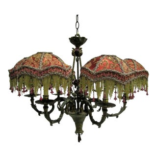 Kathleen Caid Hand Made Victorian Style Brass Chandelier With Beaded Shades For Sale
