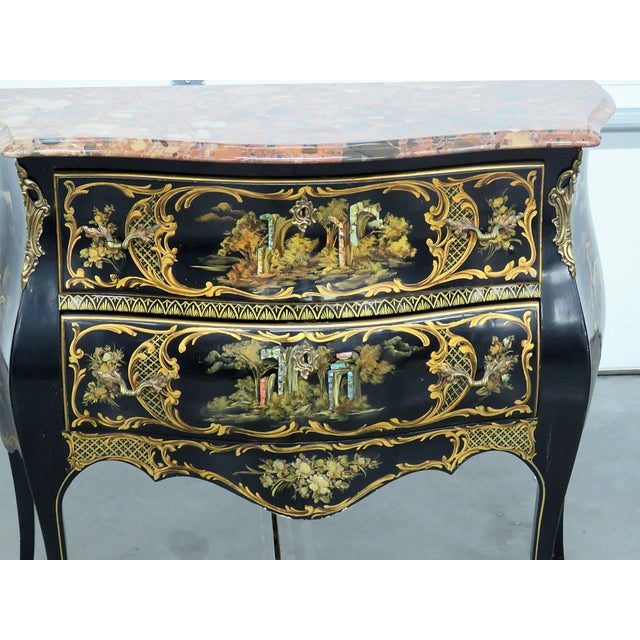 Asian Louis XV Style Chinoiserie Marble Top Bombe Commode For Sale - Image 3 of 10