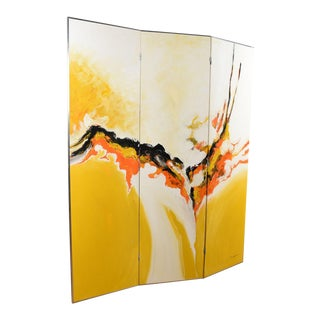 Mid Century Modern Abstract Large Painted Screen / Room Divider For Sale