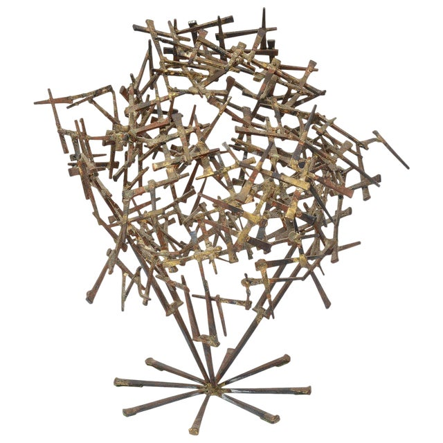 Vintage Brutalist Abstract Nail Tabletop Sculpture For Sale
