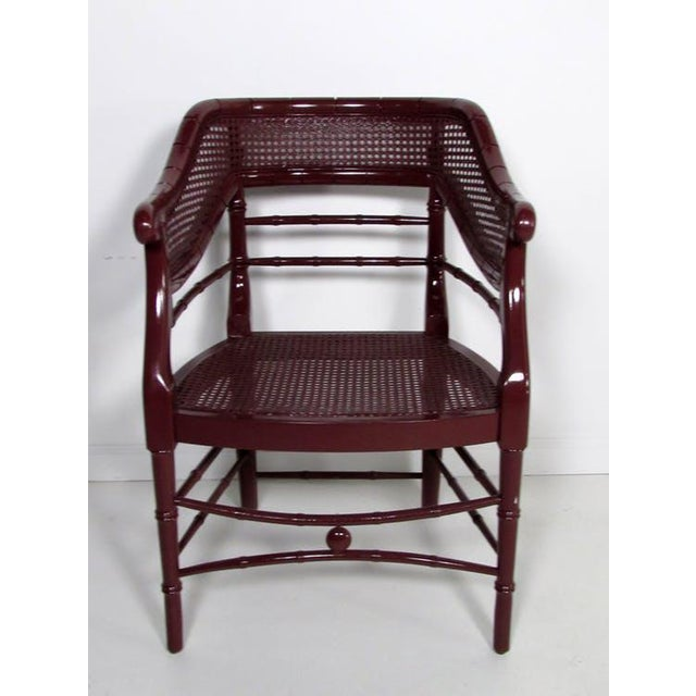 Faux Bamboo & Cane Lacquered Club Chair - Image 3 of 8
