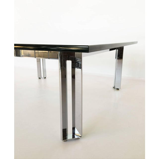 Modernist Square Chrome and Glass Coffee Table For Sale In Dallas - Image 6 of 9