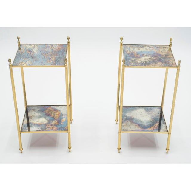 Mid-Century Modern Pair of French Maison Jansen Brass Mirrored Two-Tier End Tables 1960s For Sale - Image 3 of 13