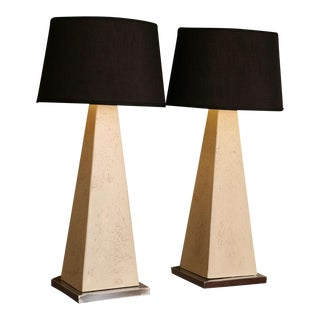 Pair of Modern Obelisk Table Lamps For Sale