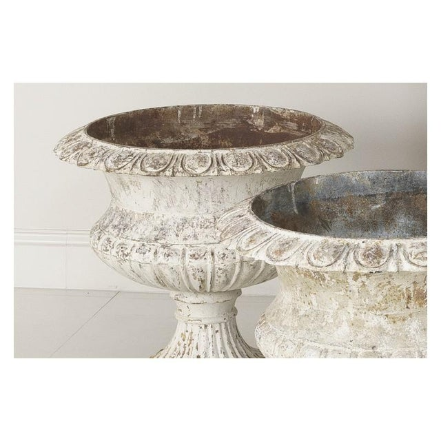 Large Pair of 19th Century French Cast Iron Urns For Sale - Image 4 of 10