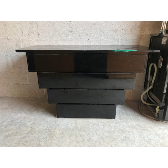 Art Deco Revival Black Lacquer Credenza Server For Sale - Image 4 of 5