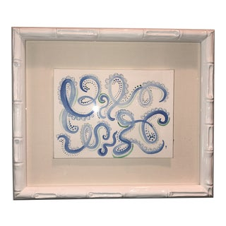 Blue Swirls With Green Original Framed Watercolor Painting For Sale