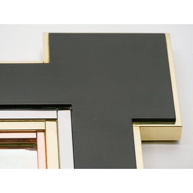 1975 Alain Delon for Maison Jansen Lacquer and Brass Wall Mirror For Sale - Image 11 of 13