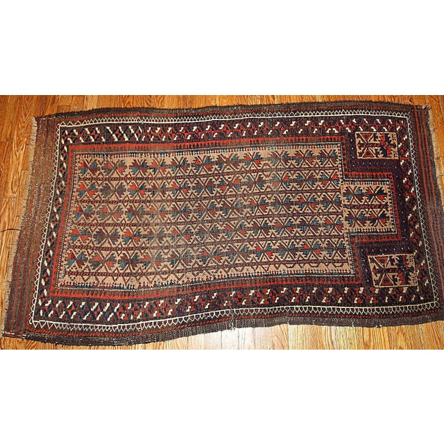 "Afghan Antique Turkoman Prayer Baluch Rug - 2'10"" X 5'3"" For Sale - Image 3 of 7"