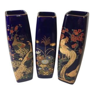 1980s Blue Japanese Vases - Set of 3 For Sale