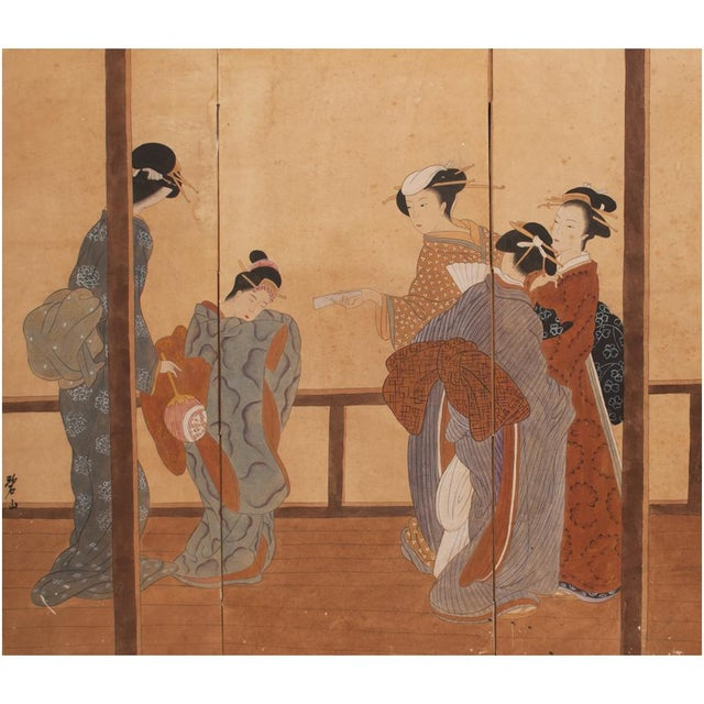 Beautifully aged Japanese 4-panel Byobu (screen) painted in ink and colors on paper. Gathering of 5 Bijin and Maiko...