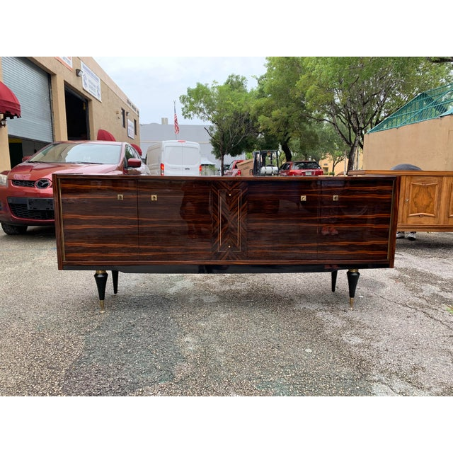 1940s Vintage French Macassar Ebony Sideboard For Sale - Image 9 of 13