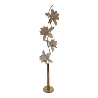 1970s Vintage Italian Glass Lotus Flower Floor Lamp For Sale