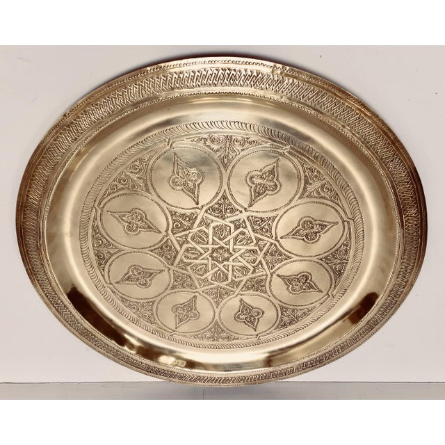 Islamic Moroccan Polished Round Brass Tray For Sale - Image 3 of 13