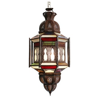 Moroccan Stained Glass Lantern For Sale
