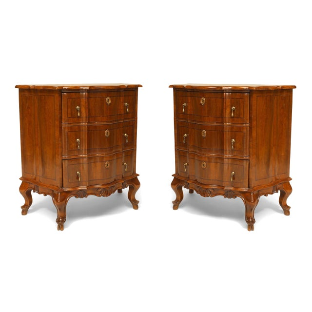 Walnut Pair of Italian Venetian Shaped Bedside Commodes For Sale - Image 7 of 7